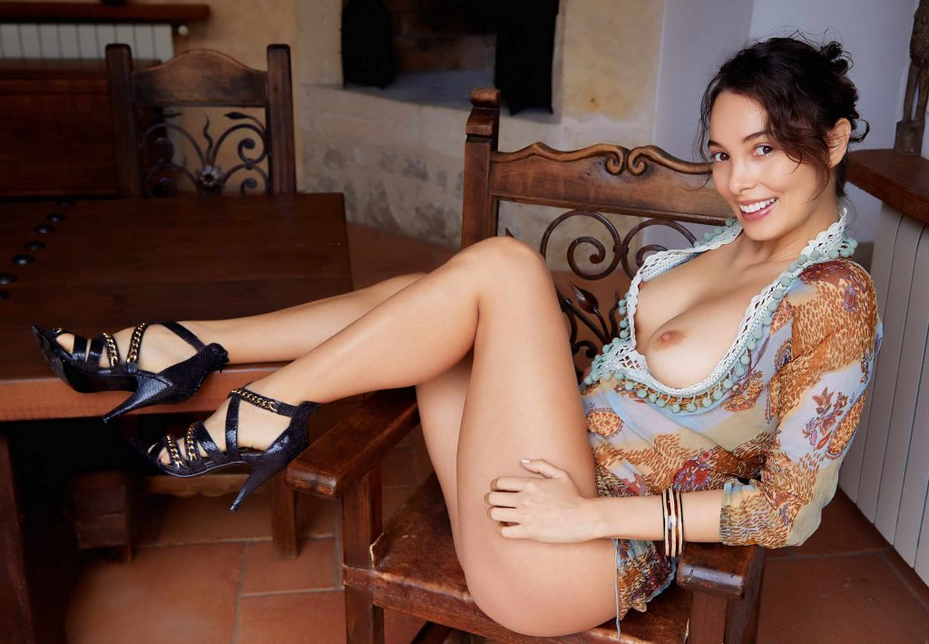 Young And Hot Brunette With Sexy Legs