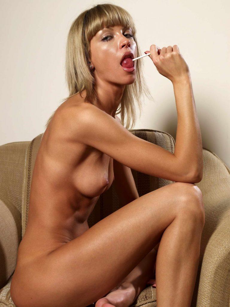 Slender Blonde Licking Lilipop